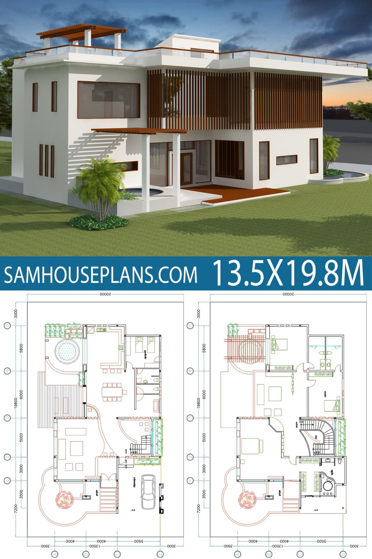 House Plan 13 5x19 8m With 4 Bedrooms Sam House Plans Two Story House Design Double Storey House Plans Duplex House Plans