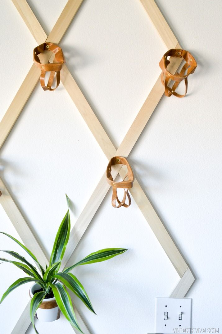 Diy wood and leather trellis plant wall from waste material indoor plant wall plant wall - Indoor plant wall diy ...