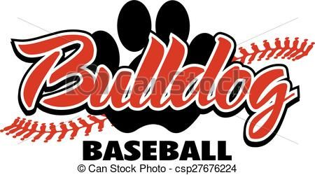 Vector Illustration Of Bulldog Baseball Design With Red Stitches And Paw Print Csp27676224 Search Clipar Baseball Shirt Designs Spirit Shirts Baseball Design