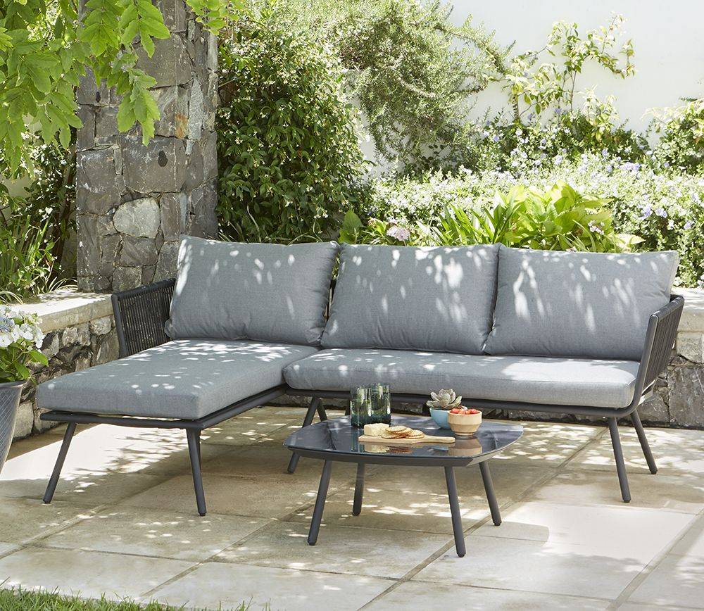 This matara outdoor sofa combines powder coated steel frames with knitted textiline rope to create an on trend look thats cool and contemporary
