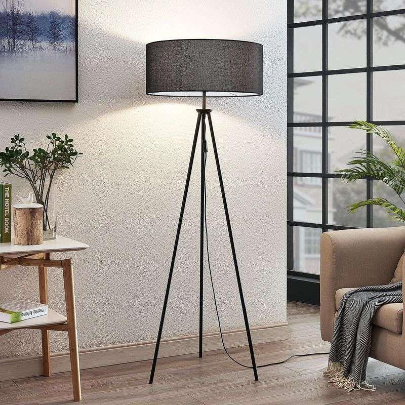 Driepotige vloerlamp Bentja, stof zwart | Vloerlamp, Stoffen