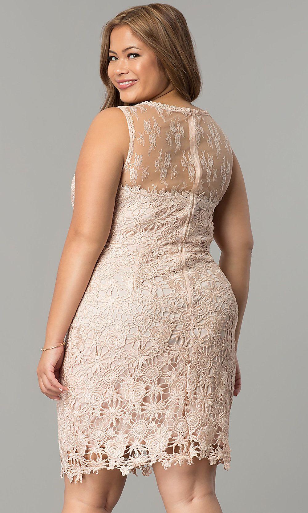 Short Lace PlusSize WeddingGuest Party Dress in 2020