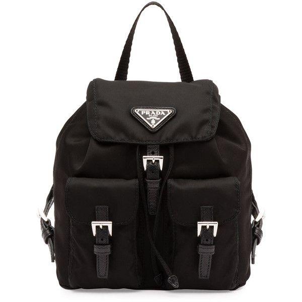 Prada Vela Mini Crossbody Backpack Bag (3.130 BRL) ❤ liked on Polyvore featuring bags, backpacks, black, buckle flap backpack, chain strap backpack, prada backpack, strap backpack and miniature backpack