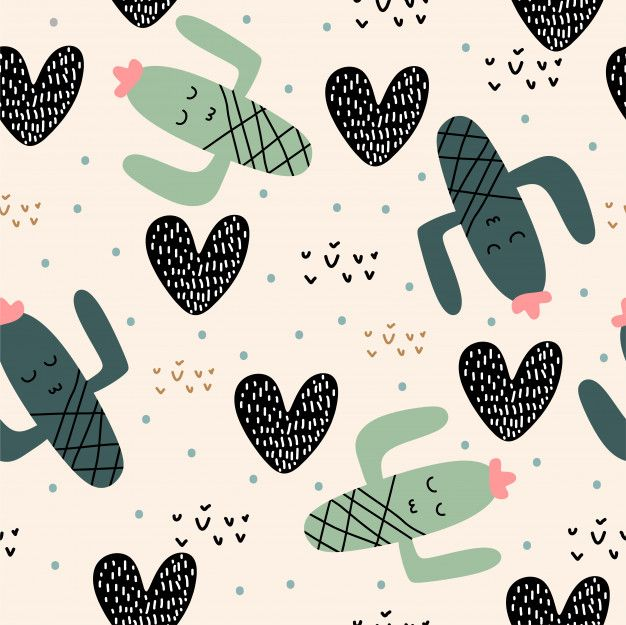 Photo of Cute Cactus Plants Seamless Pattern With Children Drawing For Baby And Kids Apparel Fashion