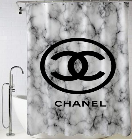 Marble Pattern Coco Chanel Shower Curtain