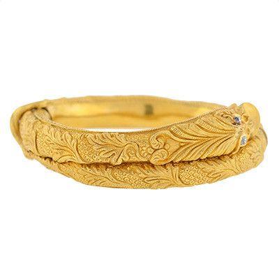 A. Brandt + Son - Victorian 18kt Serpent Bangle Bracelet w/ Diamonds
