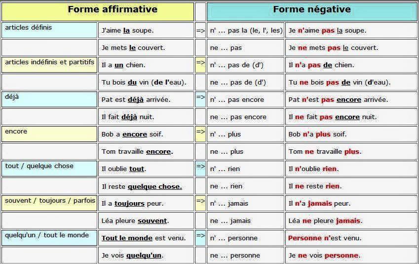 Forme Affirmative Vs Forme Negative En Francais French Language Basics French Grammar Learn French