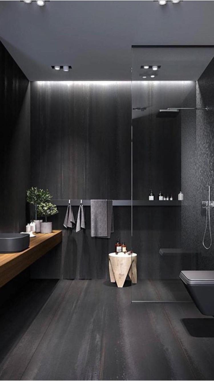 Black bathroom in modern style #bathroom #bathroomideas # ...