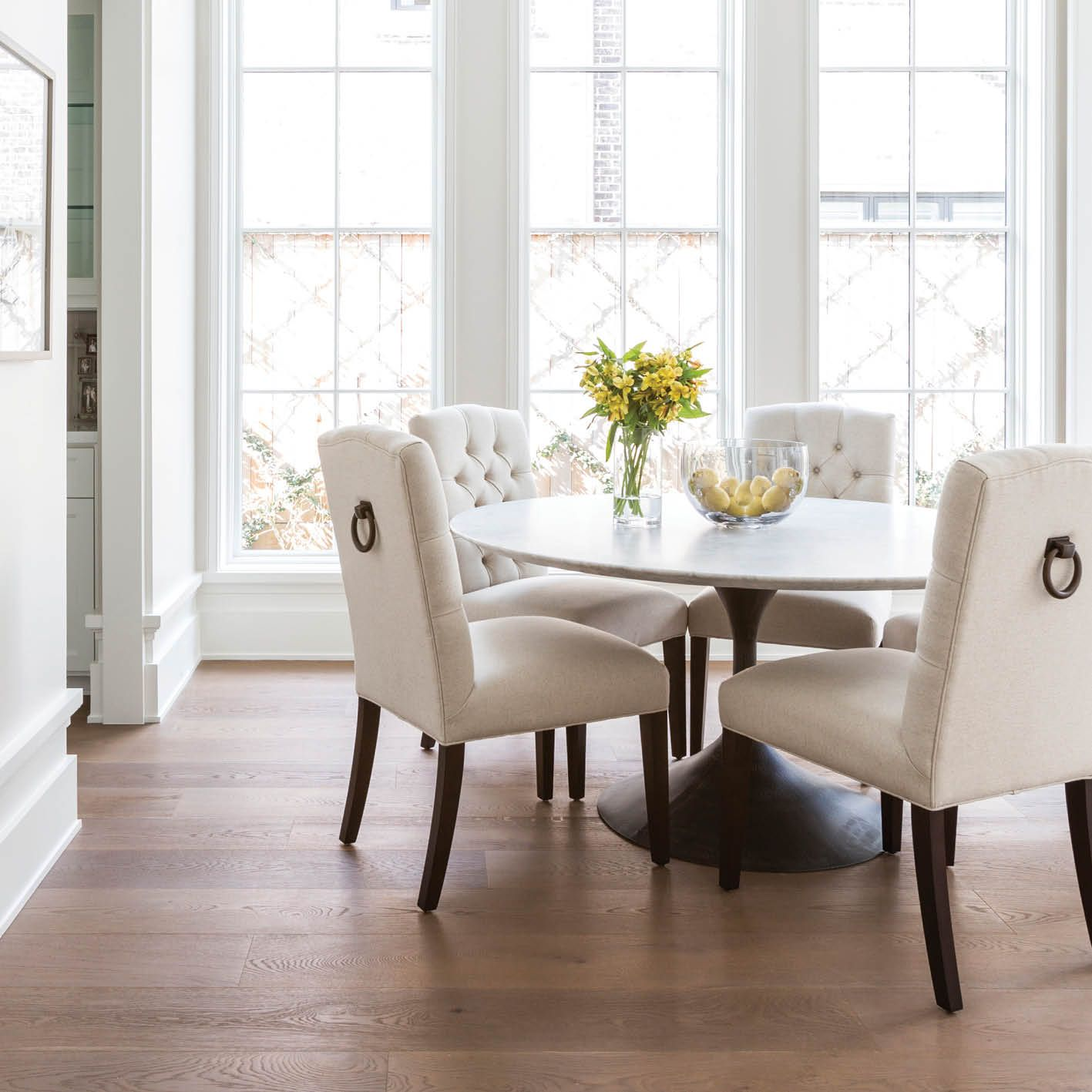 Marie Flanigan Interiors Citybook Guiding Light Bright Breakfast - Restoration hardware marble dining table