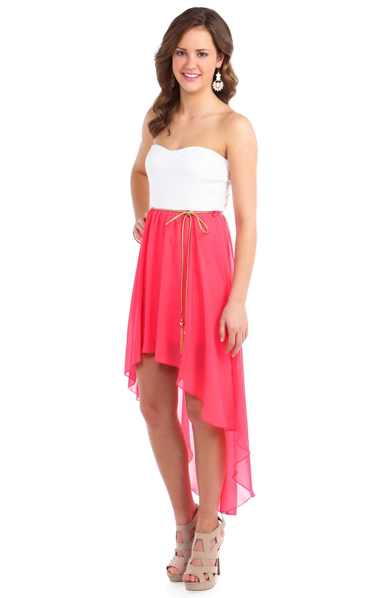 Deb Shops coral strapless belted chiffon high low casual dress ...