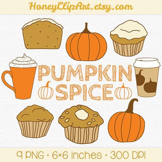 Fall Pumpkin Spice Clip Art, Muffin Clipart, Cafe Latte ...