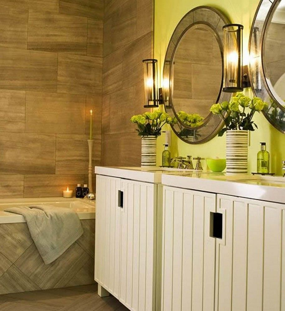 Wooden Pattern Wall Decoration and Lime Green Sink Bathroom