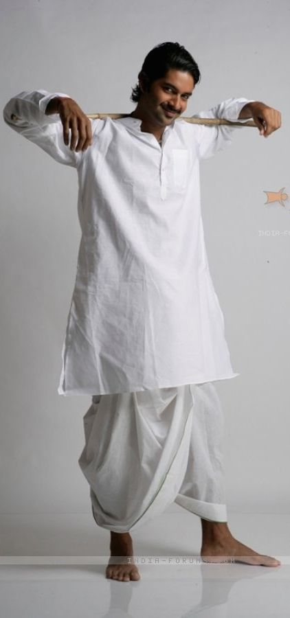 af96f33297 Dhoti: Also called pancha, mardani, suriya or veshti, is a piece of cloth,  usually 4.5 metres long, wrapped around and knotted at the waist. In India,  dhoti ...