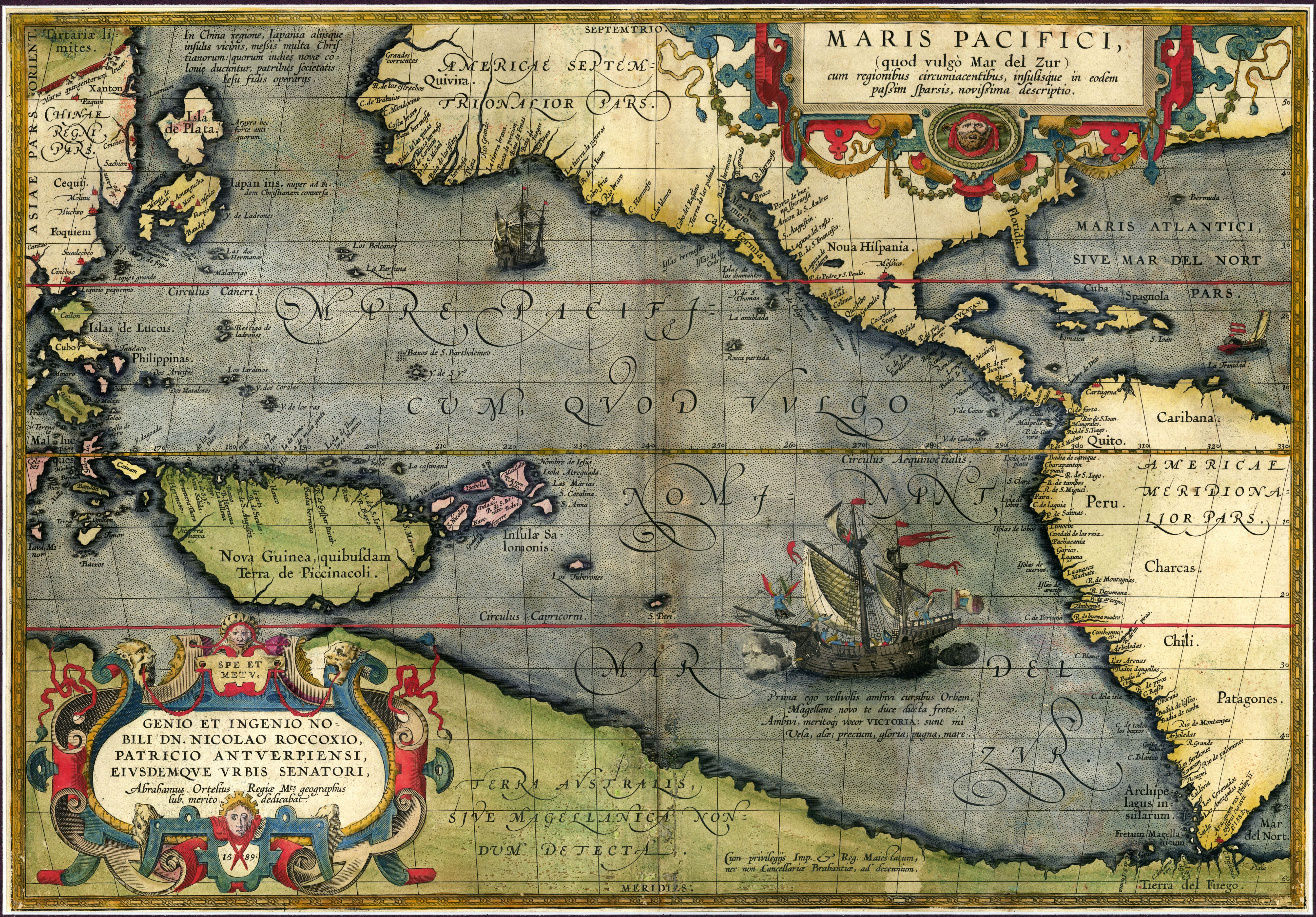 Maris Pacifici (or Pacific Ocean) 1589... map & work of art