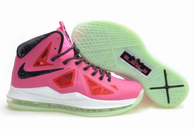 Nike Zoom Lebron 10 Womens James Shoes Luminous Pink-Black-White Colors 0f6b4d336