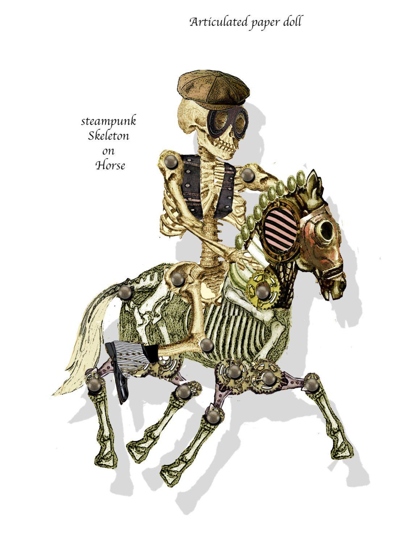 printable halloween paper skeleton with horse printable gothic