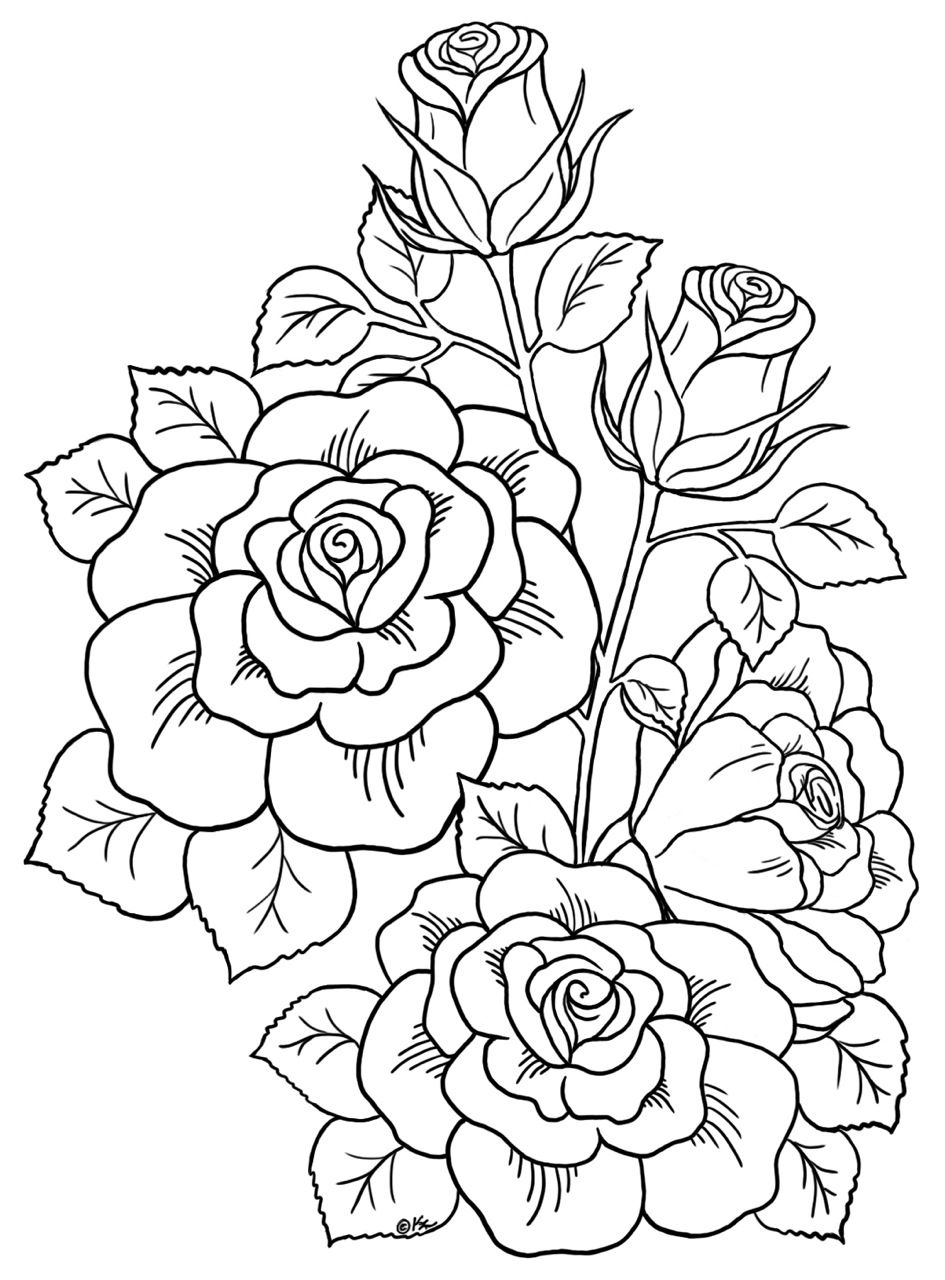 This is a picture of Clean Printable Coloring Pages for Adults Flowers