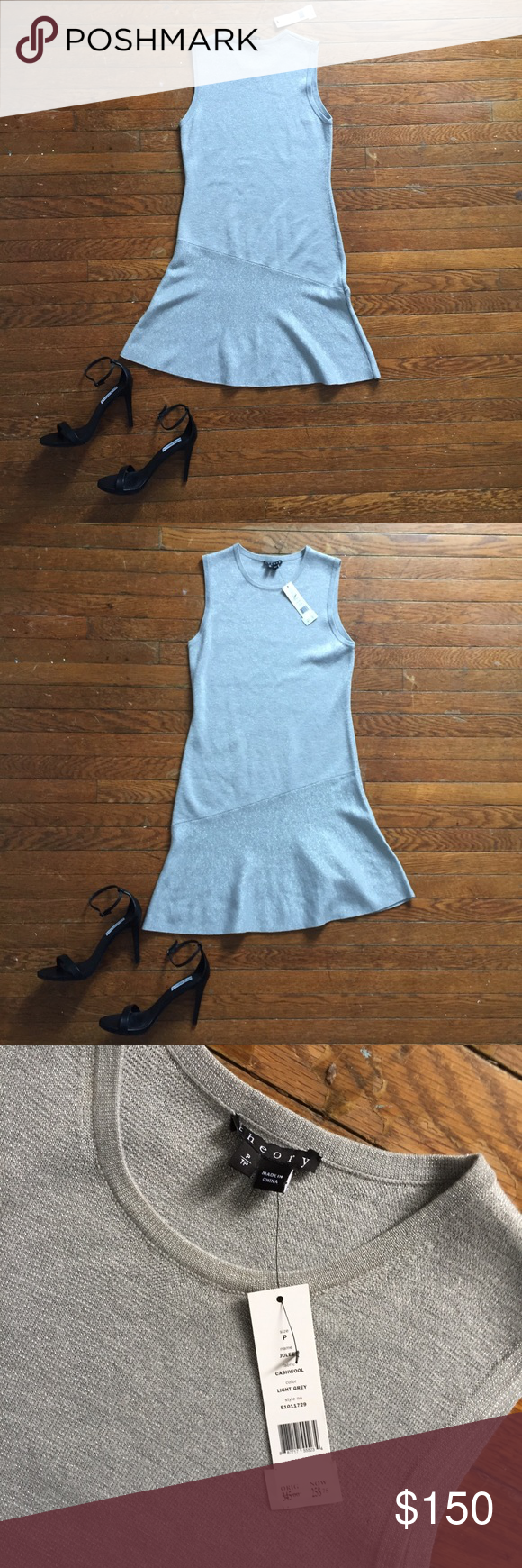 Theory A-line Dress Silver Theory A-line dress with asymmetrical shift. Size sma… – My Posh Picks