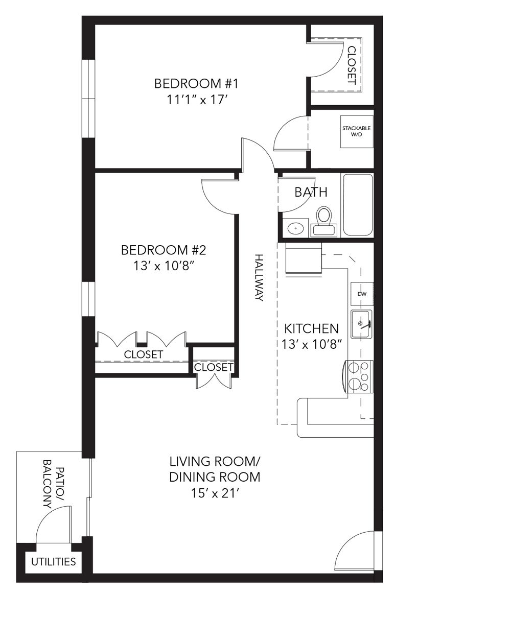 Brandywine Floor Plan - 2 Bedroom Flat