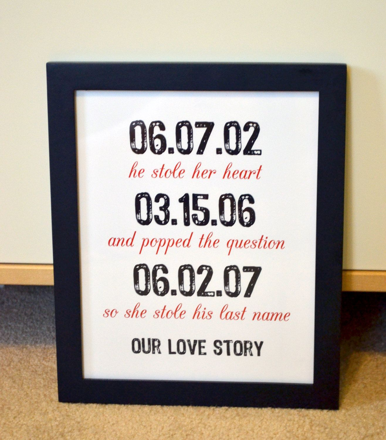 First anniversary 8x10 art t important dates anniversary t