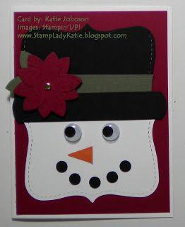 card shaped like a snowman's face