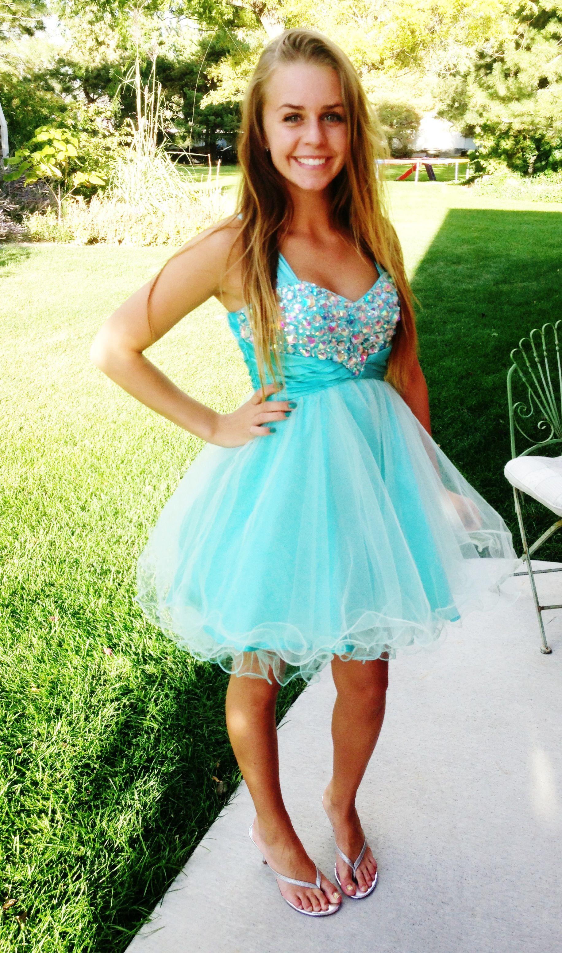 Aqua mint blue short dress. dazzling dress rentals in riverton ...