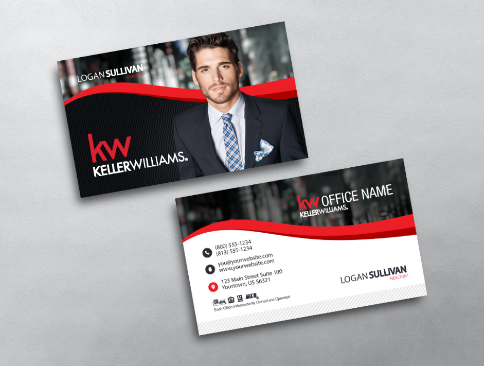This Classically Designed Keller Williams Offers A Professional Design With Keller Williams Business Cards Masculine Business Cards Real Estate Business Cards