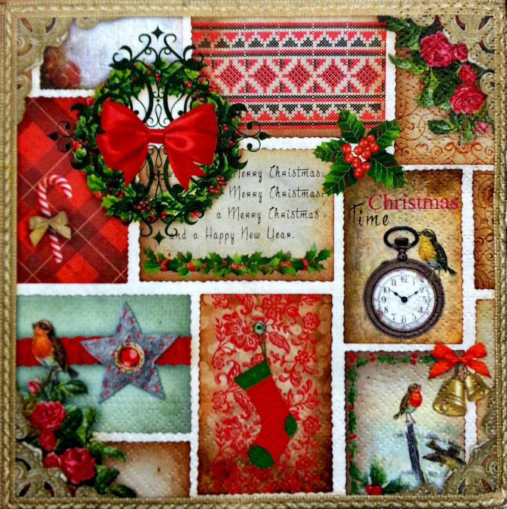 CRAFT MERRY CHRISTMAS DECOUPAGE 4 x  Vintage Table PAPER Napkins PARTY