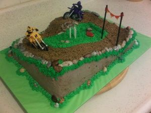 For A Young Man Who Loves Motocross Cake Is Half Sheet Chocolate