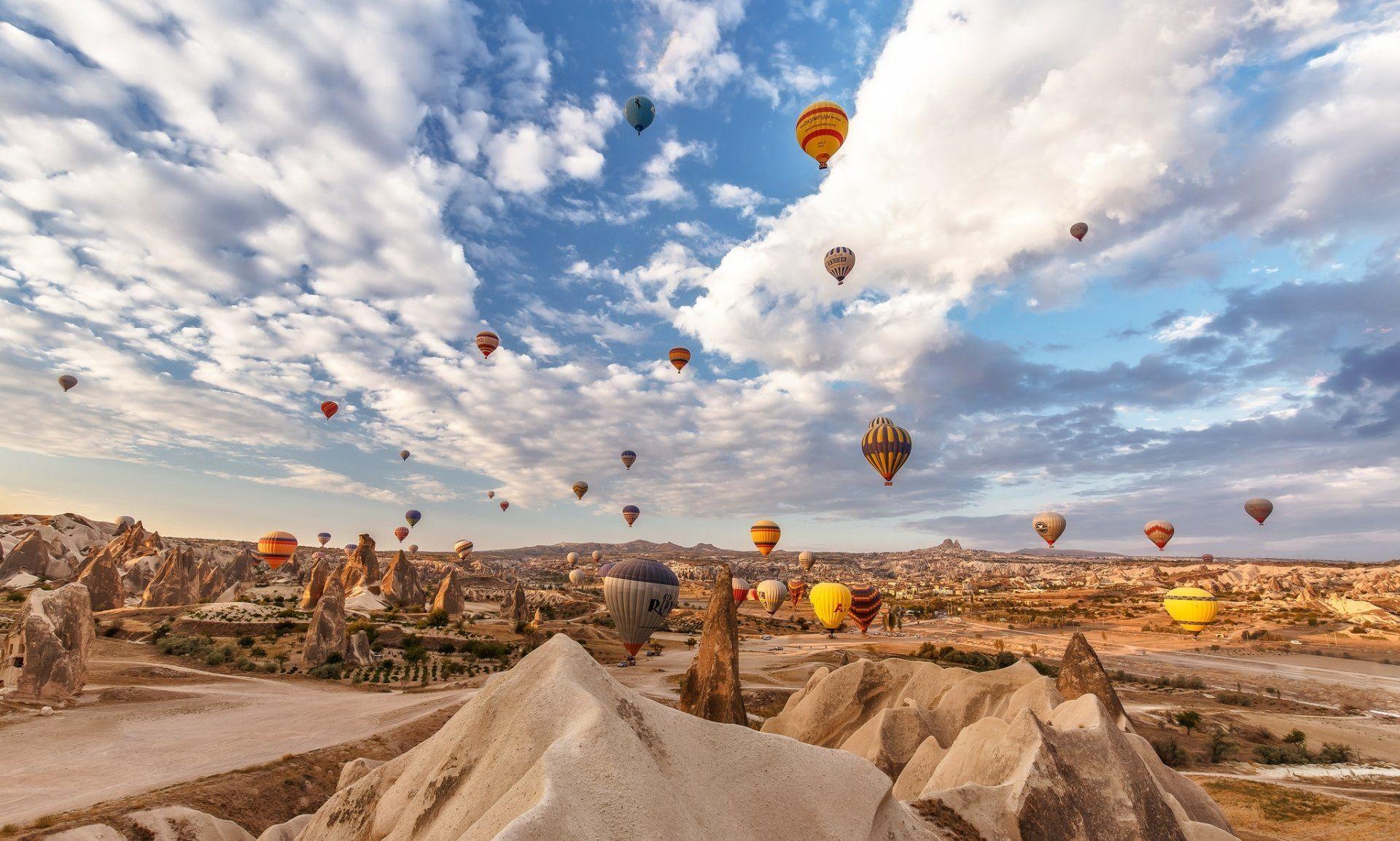 Vehicles Hot Air Balloon Landscape Desert Turkey Rock Sky