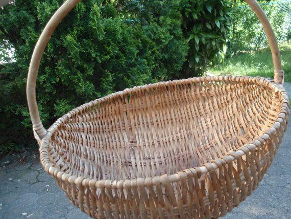 Large Antique Gathering Basket/ Round by DragonflyGypsySoul