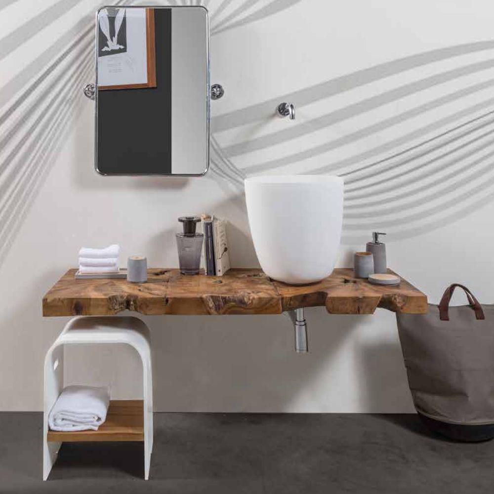 Mobile top sospeso per bagno in legno di teak massello - Top bagno legno massello ...