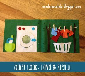"""Quiet book (senza bisogno di saper cucire): la pagina della """"lavanderia""""."""