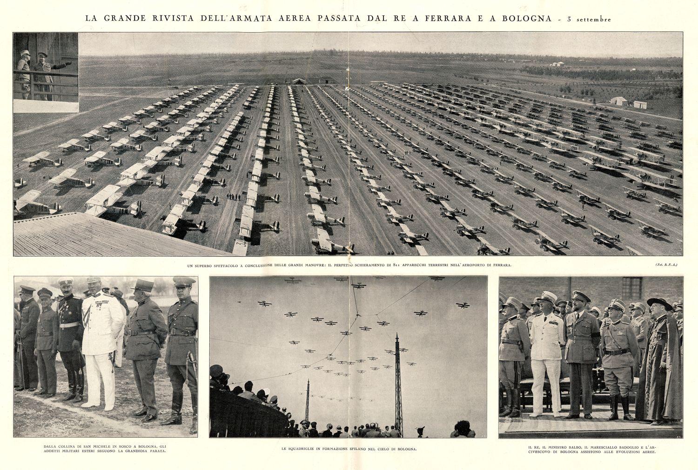"""Paginone fotografico """"La Grande Rivista dell'Armata Aerea passata dal Re a Ferrara e Bologna"""" - 3 settembre 1931"""