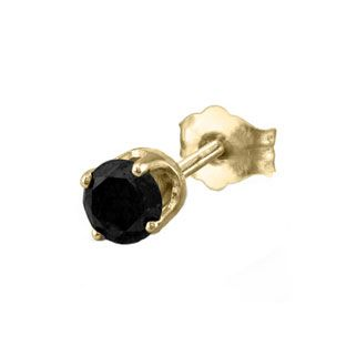 Men S Black Diamond Stud Earrings In 14k Yellow Gold 1 2 Ct
