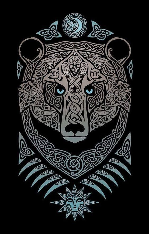 Celtic Bear With Owl Viking Art Norse Tattoo Celtic Tattoos