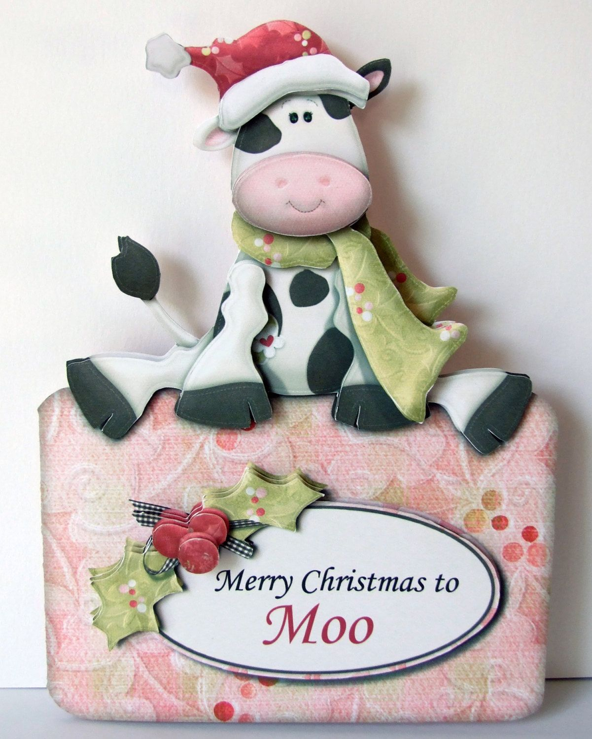 Merry Christmas to Moo 3D Decoupage Christmas Card with Matching ...
