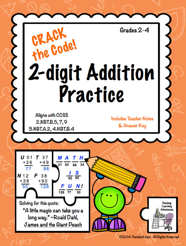 2 Digit Addition Practice Crack The Code Math For Second Grade