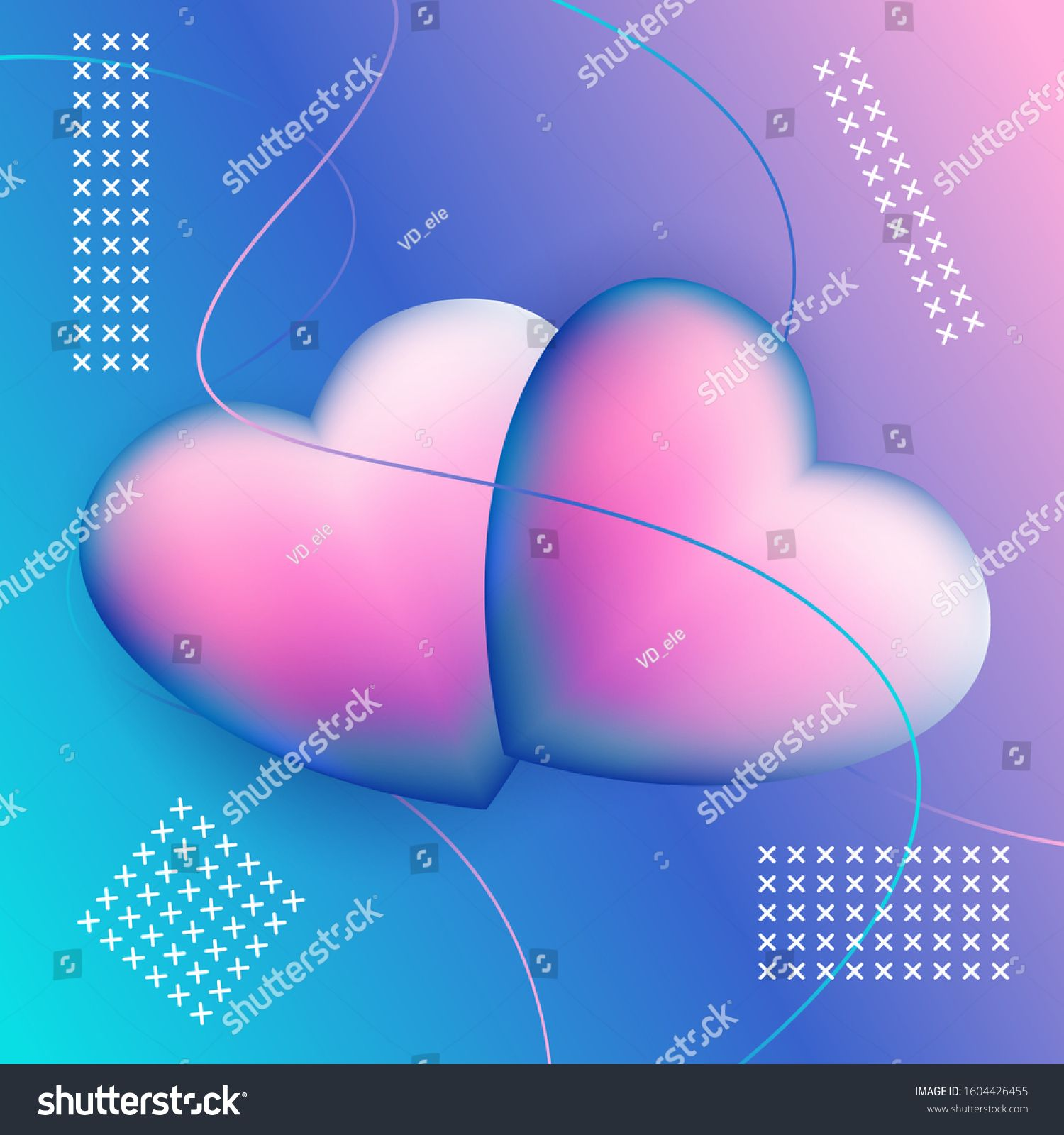 Gradient couple heart shapes. Vector stock illustration