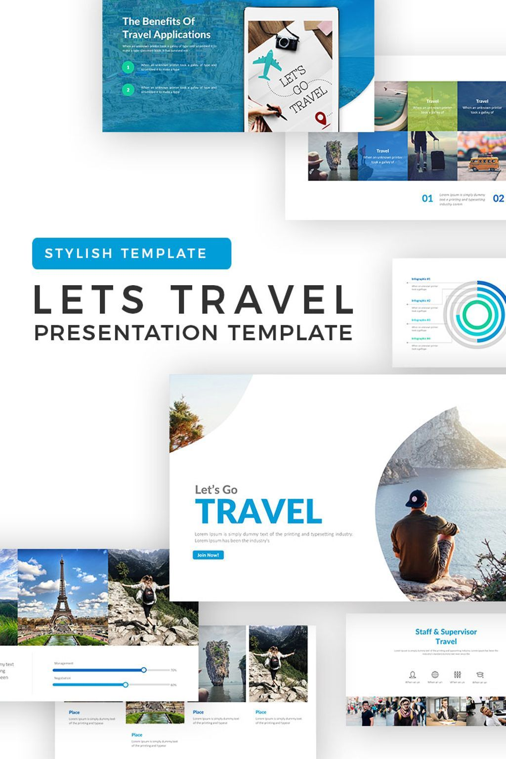 lets travel powerpoint template new website templates pinterest