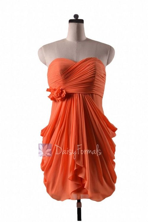 In stock,Ready to Ship - Sheath Orange Chiffon Cocktail Bridesmaid Dress (BM332N) - (#22 Orange, Sz10)
