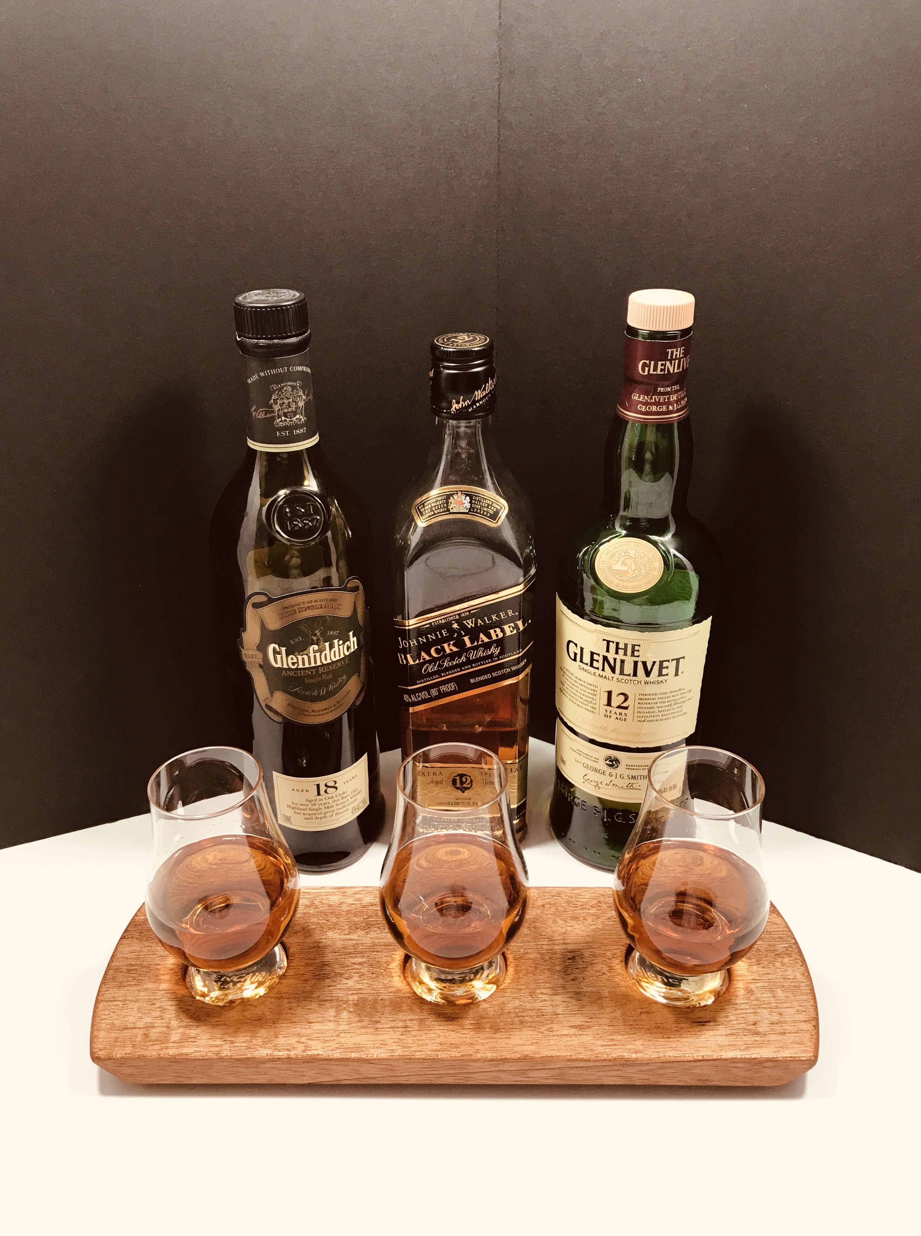Personalized!  Scotch Whisky Bourbon Whiskey 3 Glencairn Glass Tasting Serving Tray Flight. Solid Mahogany.  Scotch Lover Gift.  #whiskyflight #mancave #scotch #flight #giftsforhim #giftideas #gift #drinks #glencairn #homebar #servingtray #gifts #whiskytray #bar #barware #glenfiddich #johnniewalker #glenlivet #whiskytasting #scotchtasting #whisky #whiskey #party #drinking #whiskylover #forhimgift #giftforman #giftforhusband #whiskygiftset #whiskywednesday #bartender #entertaining #prwoodworks