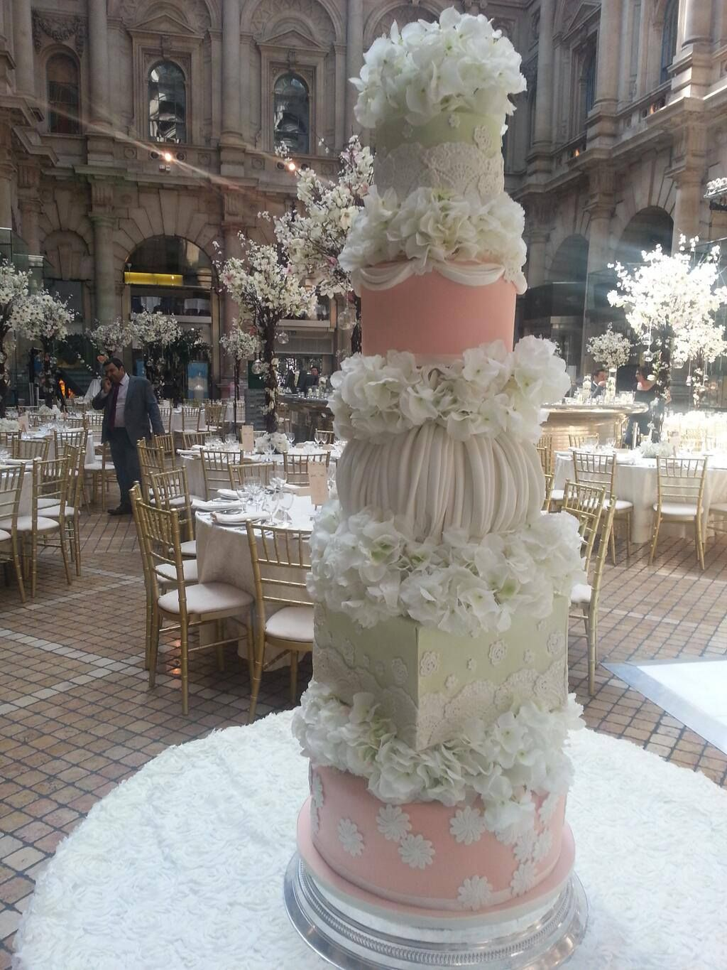 One of our recent wedding cakes a five tier mint green and peach