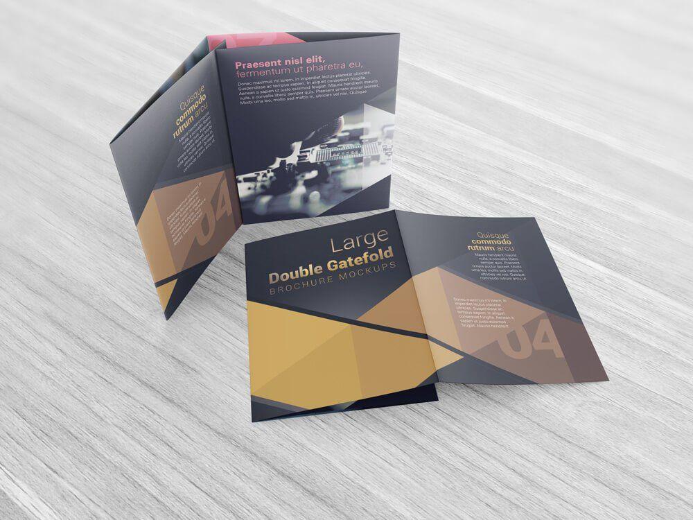Double Gatefold Brochure Mockups Brochures Mockups Brochure Brochure Design