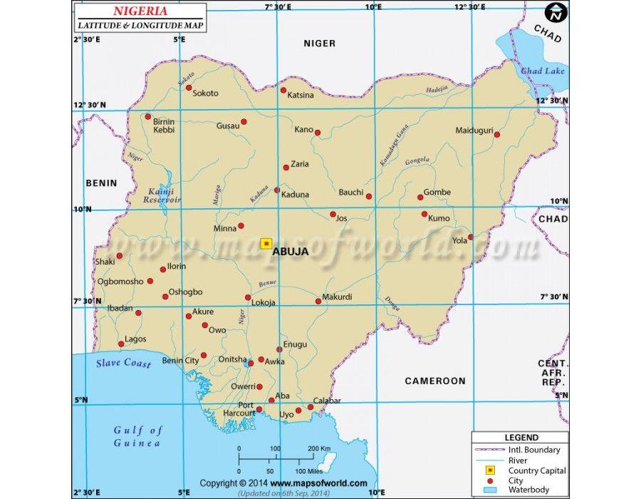 Buy Nigeria Latitude And Longitude Map Latitude And Longitude