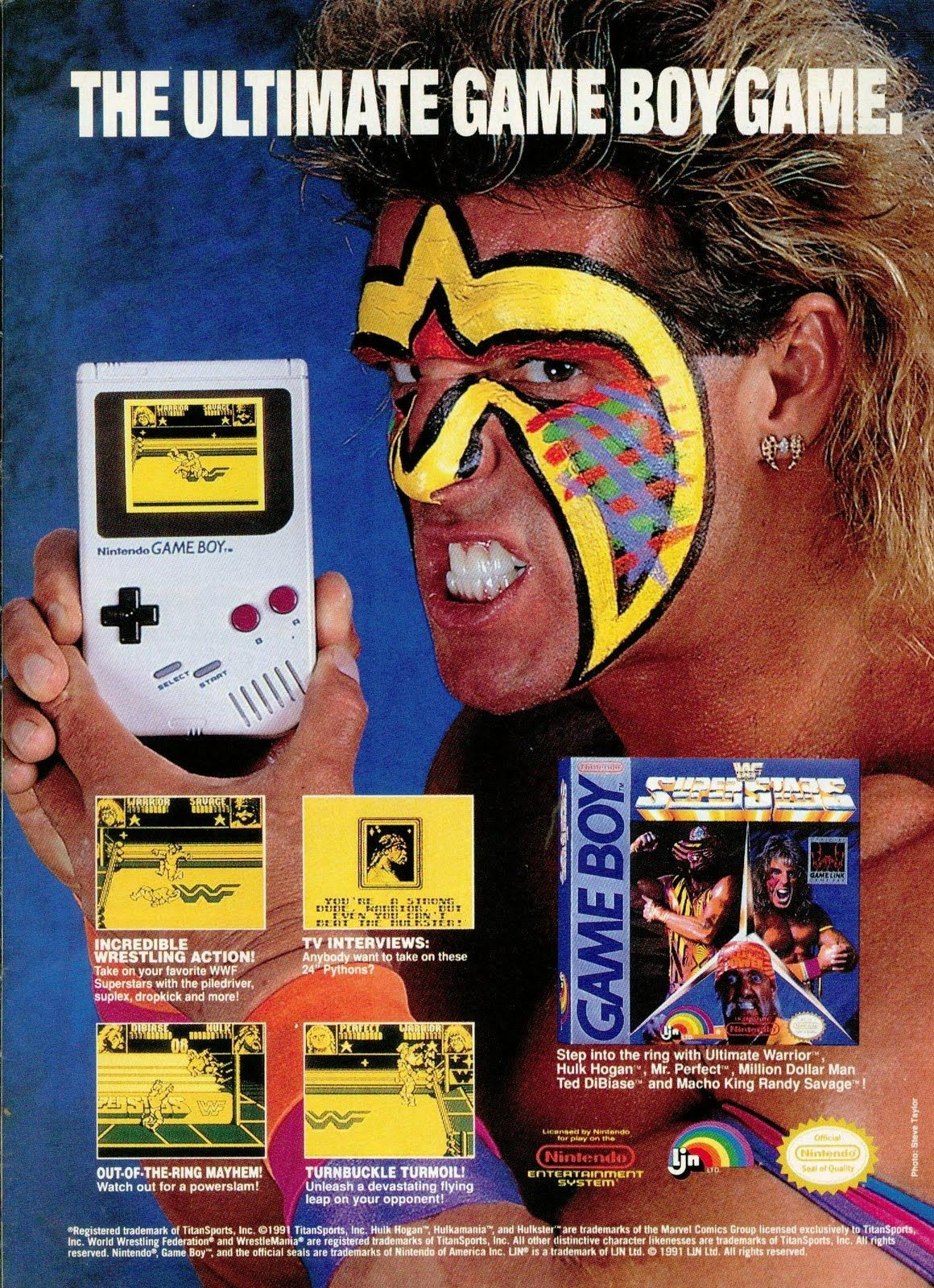Wwf Super Stars Gameboy Game Retro Games Poster Wwf Superstars Handheld Video Games