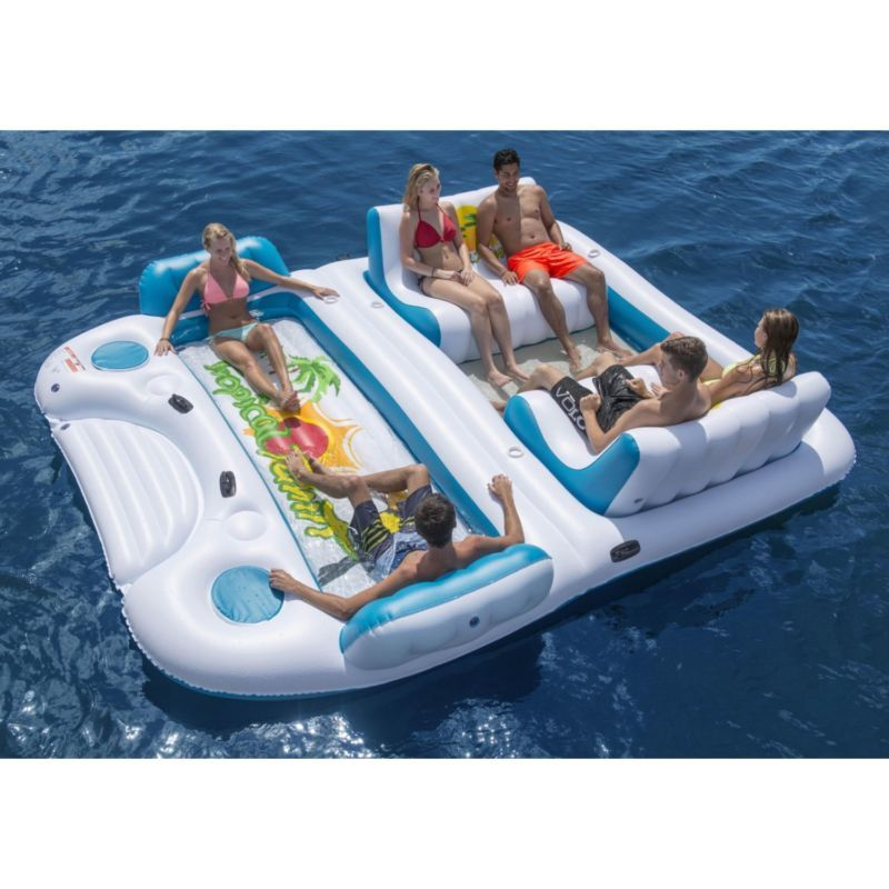 Tahiti Giant 6 Person Inflatable Lake Raft Pool Float Ocean Floating Island Inflatable Floating Island Lake Floats Lake Rafts