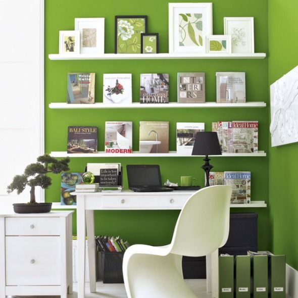 Beautiful and Gorgeous White And Green Home Office Decorating Idea