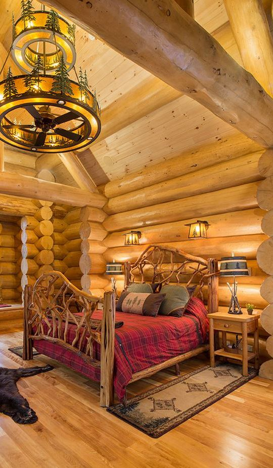 18 log cabin home decoration ideas share your favorite - Log cabin bedroom decorating ideas ...