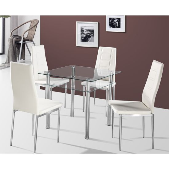 Callisto Clear Glass Dining Table And 2 Cream Nova Dining Chairs 4